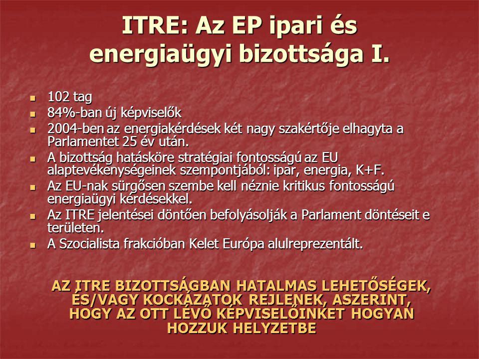 ITRE: Az EP ipari és energiaügyi bizottsága I. 102 tag 102 tag 84%-ban új képviselők 84%-ban új képviselők 2004-ben az energiakérdések két nagy szakér