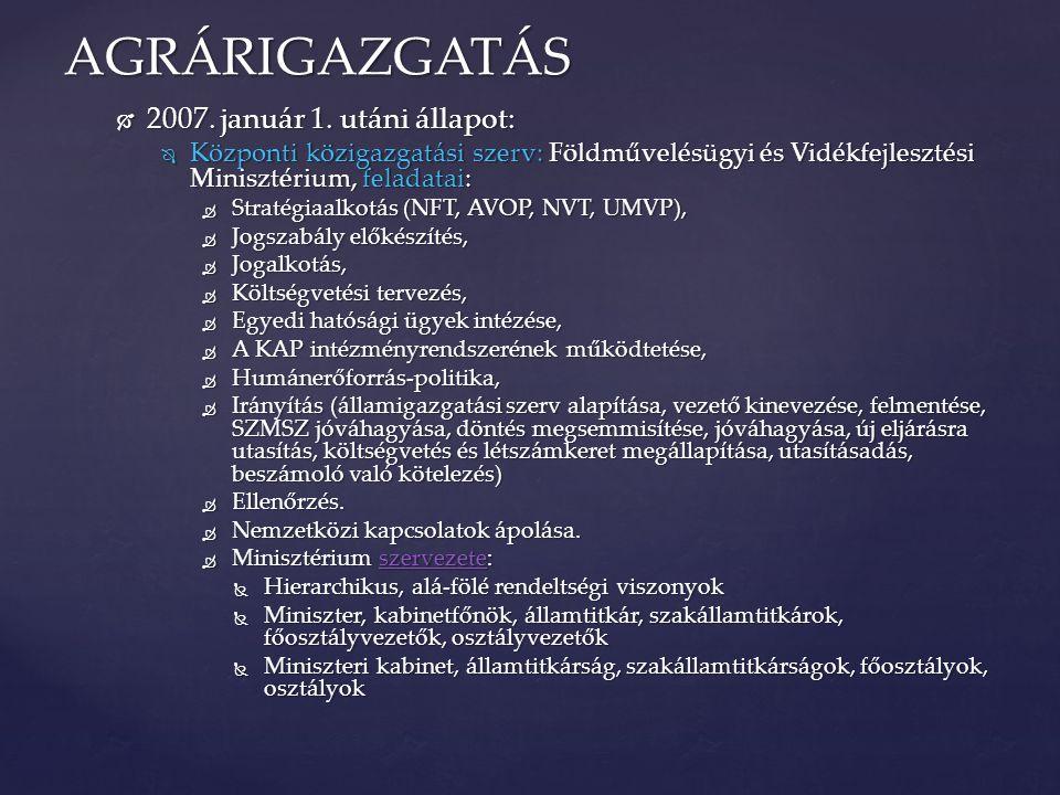  2007. január 1. utáni állapot:  Központi közigazgatási szerv: Földművelésügyi és Vidékfejlesztési Minisztérium, feladatai:  Stratégiaalkotás (NFT,