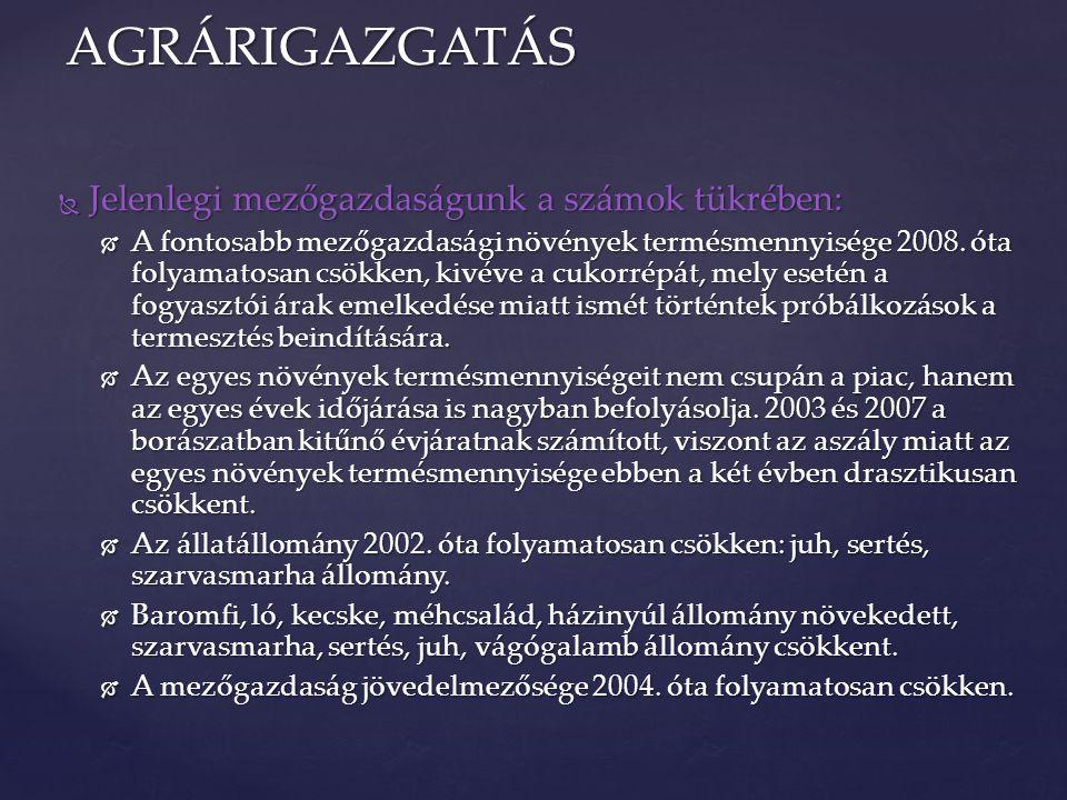 { AGRÁRIGAZGATÁS Élelmiszer-szabályozás