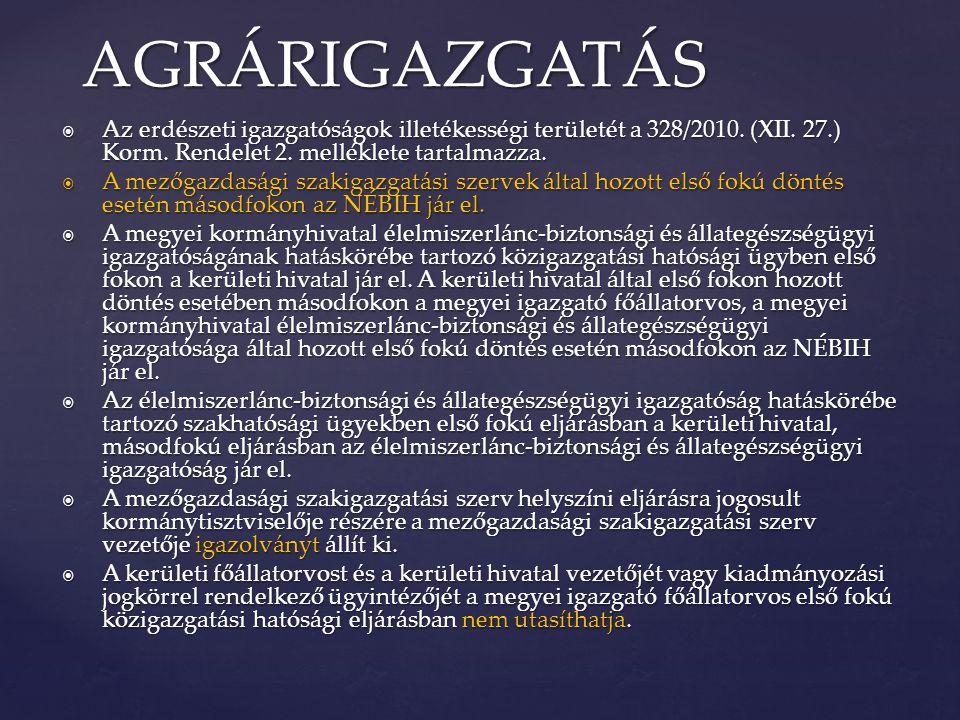  Az erdészeti igazgatóságok illetékességi területét a 328/2010. (XII. 27.) Korm. Rendelet 2. melléklete tartalmazza.  A mezőgazdasági szakigazgatási