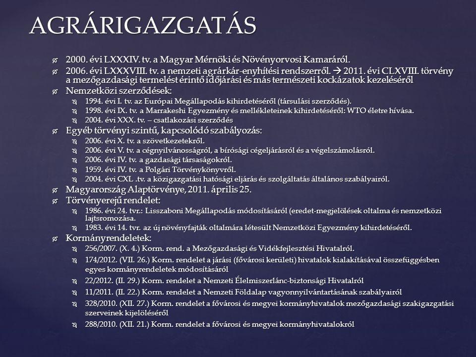  2000. évi LXXXIV. tv. a Magyar Mérnöki és Növényorvosi Kamaráról.  2006. évi LXXXVIII. tv. a nemzeti agrárkár-enyhítési rendszerről.  2011. évi CL