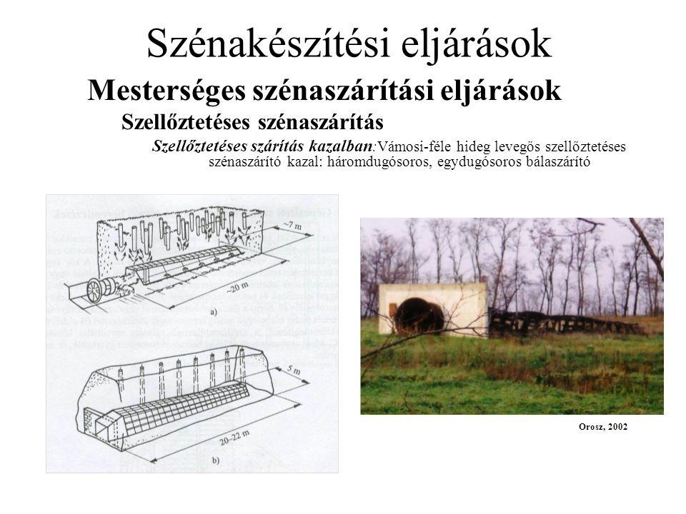 Szénakészítési eljárások Mesterséges szénaszárítási eljárások Szellőztetéses szénaszárítás Szellőztetéses szárítás kazalban :Vámosi-féle hideg levegős szellőztetéses szénaszárító kazal: háromdugósoros, egydugósoros bálaszárító Orosz, 2002