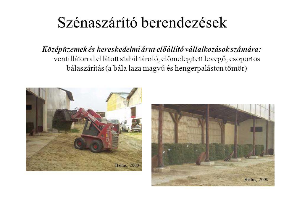 Szénaszárító berendezések Középüzemek és kereskedelmi árut előállító vállalkozások számára: ventillátorral ellátott stabil tároló, előmelegített levegő, csoportos bálaszárítás (a bála laza magvú és hengerpaláston tömör) Bellus, 2000