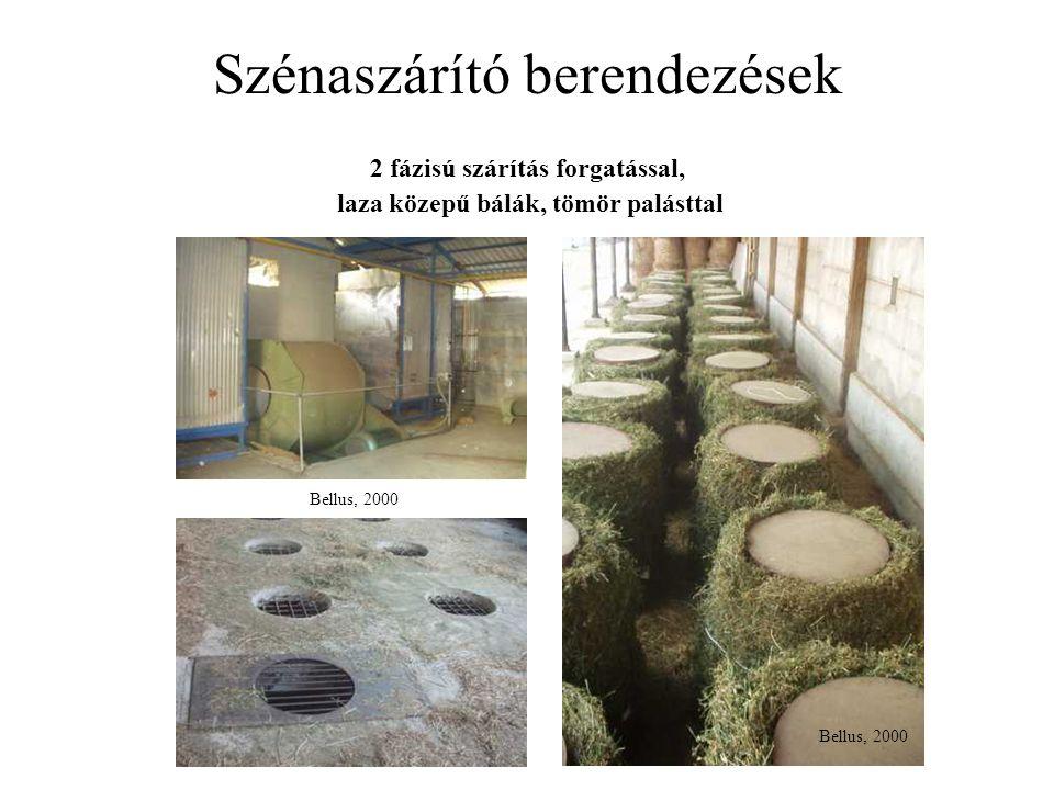 Szénaszárító berendezések Bellus, 2000 2 fázisú szárítás forgatással, laza közepű bálák, tömör palásttal