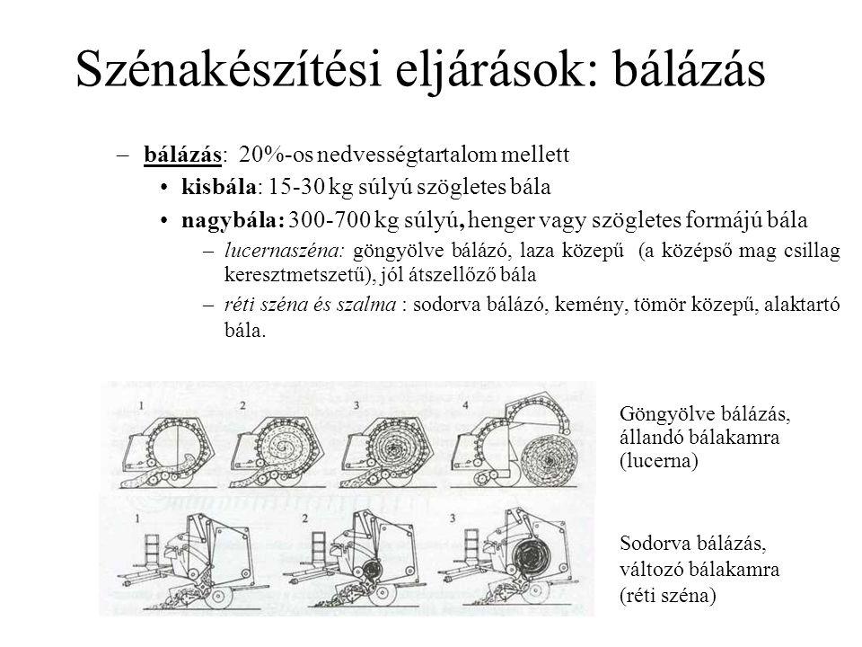 Szénakészítési eljárások: bálázás –bálázás: 20%-os nedvességtartalom mellett kisbála: 15-30 kg súlyú szögletes bála nagybála: 300-700 kg súlyú, henger vagy szögletes formájú bála –lucernaszéna: göngyölve bálázó, laza közepű (a középső mag csillag keresztmetszetű), jól átszellőző bála –réti széna és szalma : sodorva bálázó, kemény, tömör közepű, alaktartó bála.