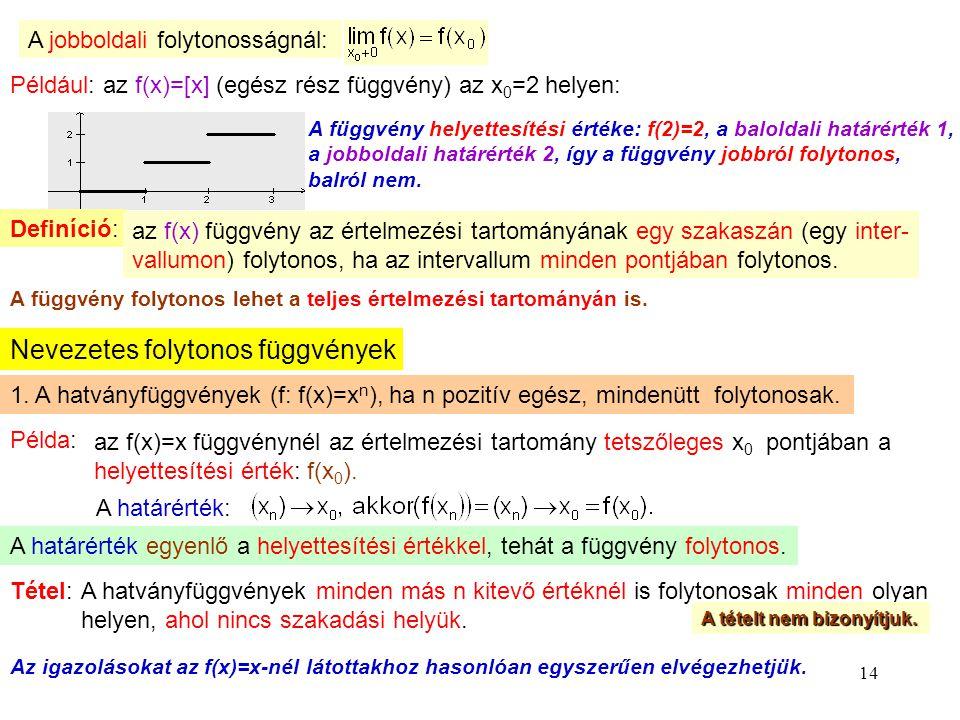 14 A jobboldali folytonosságnál: Például: az f(x)=[x] (egész rész függvény) az x 0 =2 helyen: A függvény helyettesítési értéke: f(2)=2, a baloldali ha