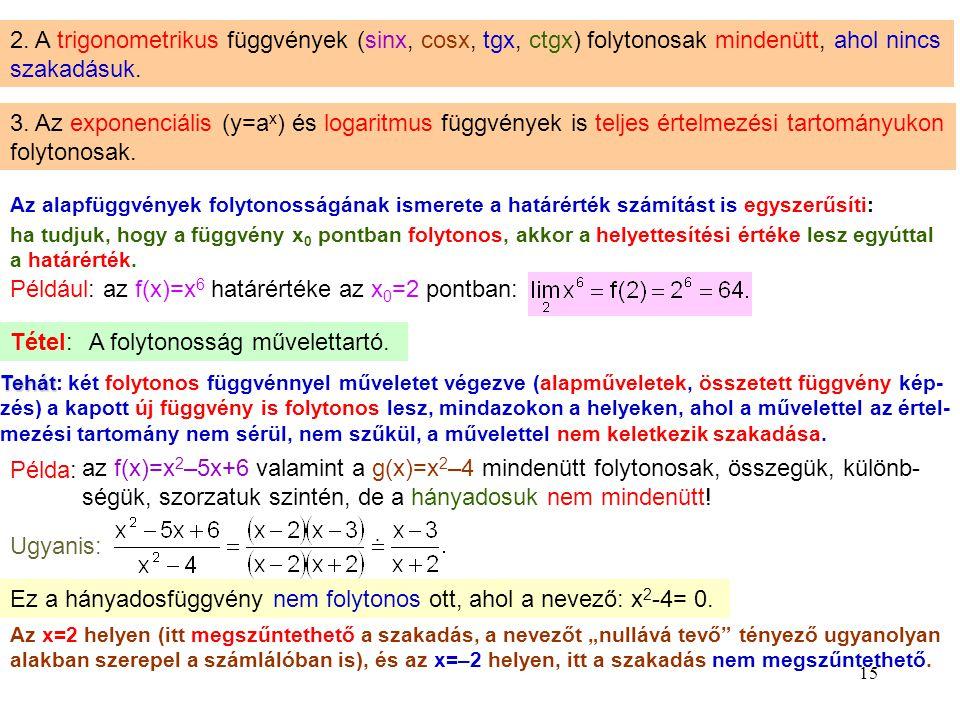 15 2. A trigonometrikus függvények (sinx, cosx, tgx, ctgx) folytonosak mindenütt, ahol nincs szakadásuk. 3. Az exponenciális (y=a x ) és logaritmus fü