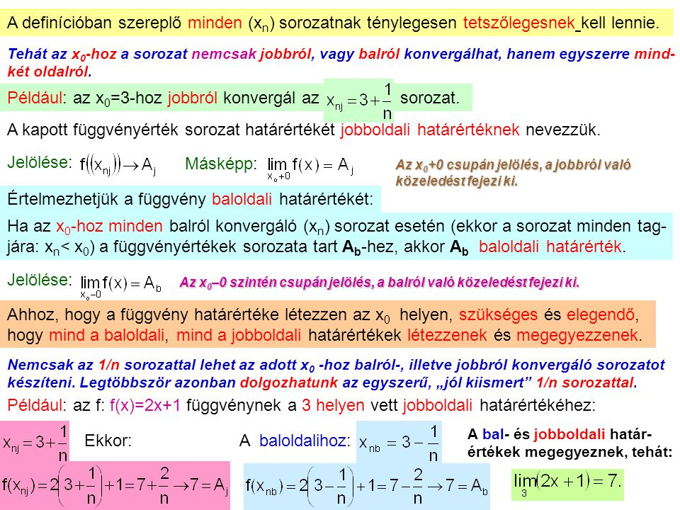 7 A definícióban szereplő minden (x n ) sorozatnak ténylegesen tetszőlegesnek kell lennie. Tehát az x 0 -hoz a sorozat nemcsak jobbról, vagy balról ko