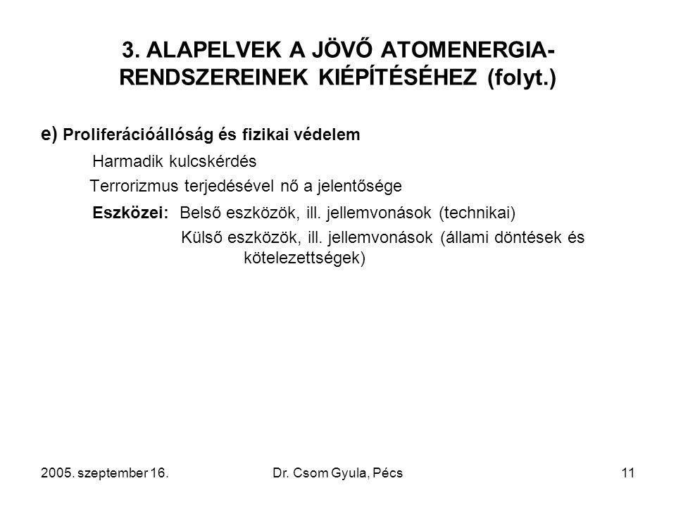2005. szeptember 16.Dr. Csom Gyula, Pécs11 3. ALAPELVEK A JÖVŐ ATOMENERGIA- RENDSZEREINEK KIÉPÍTÉSÉHEZ (folyt.) e) Proliferációállóság és fizikai véde