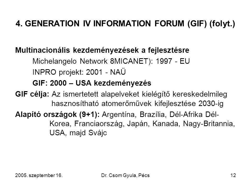 2005. szeptember 16.Dr. Csom Gyula, Pécs12 4. GENERATION IV INFORMATION FORUM (GIF) (folyt.) Multinacionális kezdeményezések a fejlesztésre Michelange