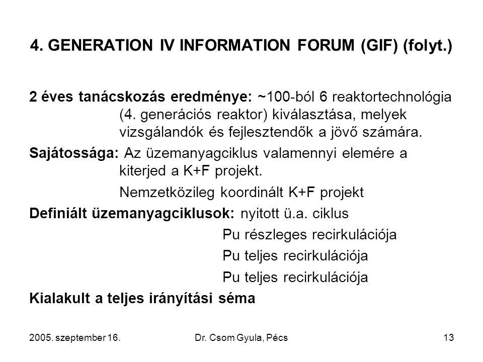 2005. szeptember 16.Dr. Csom Gyula, Pécs13 4. GENERATION IV INFORMATION FORUM (GIF) (folyt.) 2 éves tanácskozás eredménye: ~100-ból 6 reaktortechnológ
