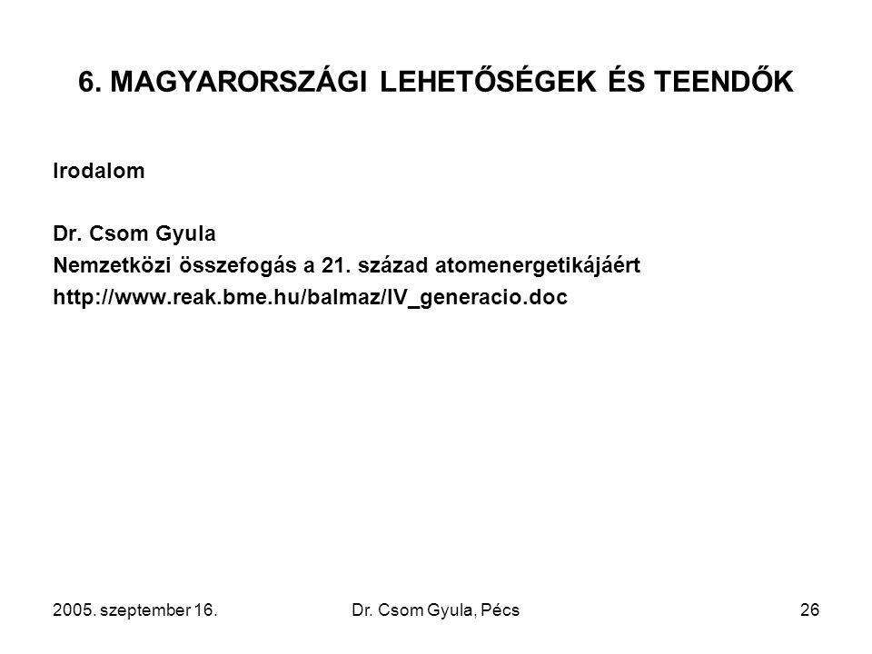 2005. szeptember 16.Dr. Csom Gyula, Pécs26 6. MAGYARORSZÁGI LEHETŐSÉGEK ÉS TEENDŐK Irodalom Dr. Csom Gyula Nemzetközi összefogás a 21. század atomener