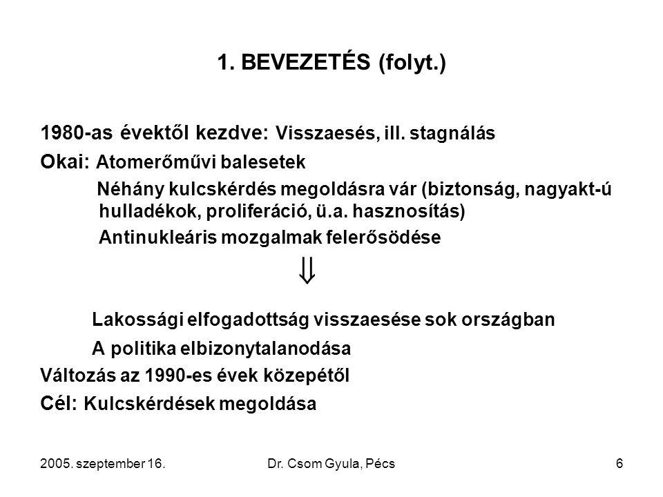 2005. szeptember 16.Dr. Csom Gyula, Pécs6 1. BEVEZETÉS (folyt.) 1980-as évektől kezdve: Visszaesés, ill. stagnálás Okai: Atomerőművi balesetek Néhány