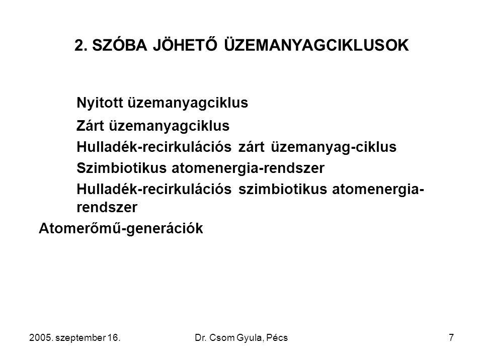 2005. szeptember 16.Dr. Csom Gyula, Pécs7 2. SZÓBA JÖHETŐ ÜZEMANYAGCIKLUSOK Nyitott üzemanyagciklus Zárt üzemanyagciklus Hulladék-recirkulációs zárt ü