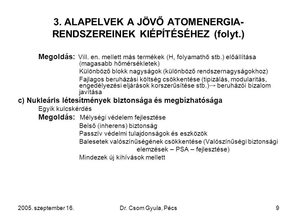 2005. szeptember 16.Dr. Csom Gyula, Pécs9 3. ALAPELVEK A JÖVŐ ATOMENERGIA- RENDSZEREINEK KIÉPÍTÉSÉHEZ (folyt.) Megoldás: Vill. en. mellett más terméke