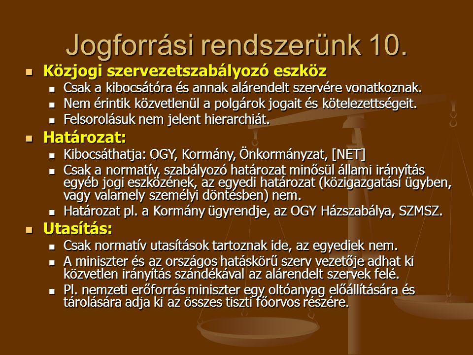 Jogforrási rendszerünk 10. Közjogi szervezetszabályozó eszköz Közjogi szervezetszabályozó eszköz Csak a kibocsátóra és annak alárendelt szervére vonat
