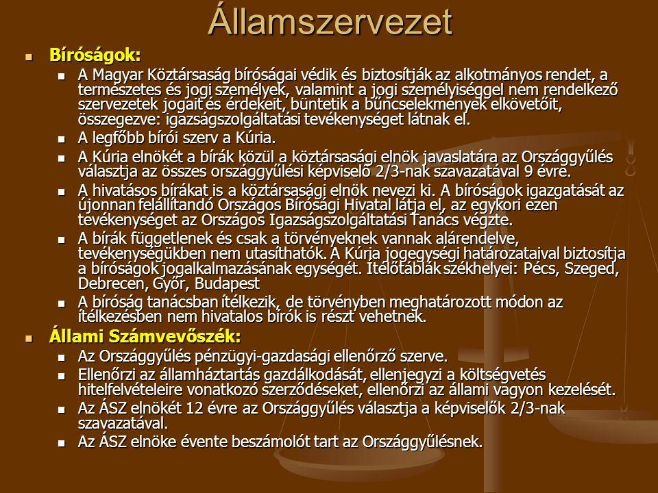 Államszervezet Bíróságok: Bíróságok: A Magyar Köztársaság bíróságai védik és biztosítják az alkotmányos rendet, a természetes és jogi személyek, valam