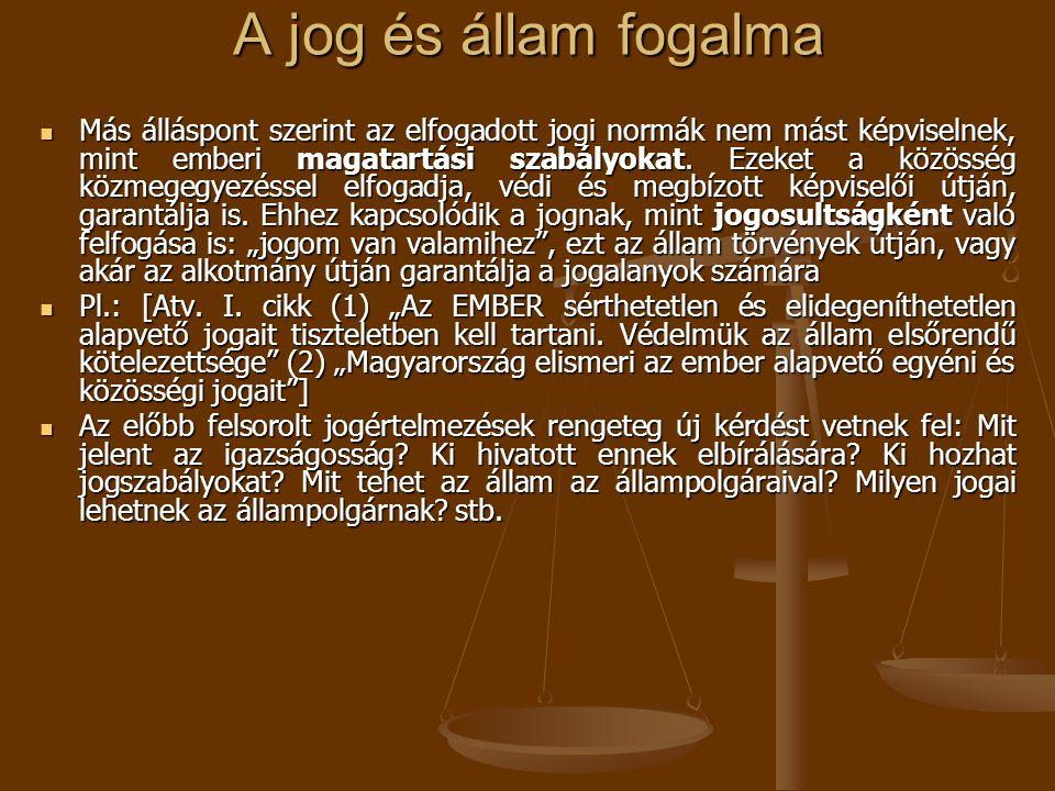 A jog és állam fogalma Más álláspont szerint az elfogadott jogi normák nem mást képviselnek, mint emberi magatartási szabályokat. Ezeket a közösség kö