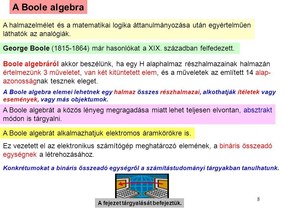 8 A Boole algebra A halmazelmélet és a matematikai logika áttanulmányozása után egyértelműen láthatók az analógiák. George Boole (1815-1864) már hason