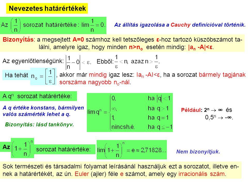 13 Nevezetes határértékek Az állítás igazolása a Cauchy definícióval történik. Bizonyítás: a megsejtett A=0 számhoz kell tetszőleges ε-hoz tartozó küs