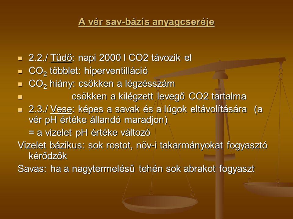 A vér sav-bázis anyagcseréje 2.2./ Tüdő: napi 2000 l CO2 távozik el 2.2./ Tüdő: napi 2000 l CO2 távozik el CO 2 többlet: hiperventilláció CO 2 többlet