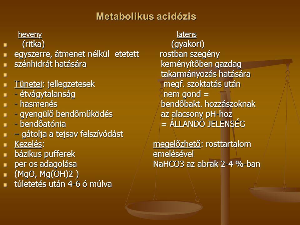 Metabolikus acidózis heveny latens (ritka) (gyakori) (ritka) (gyakori) egyszerre, átmenet nélkül etetett rostban szegény egyszerre, átmenet nélkül ete