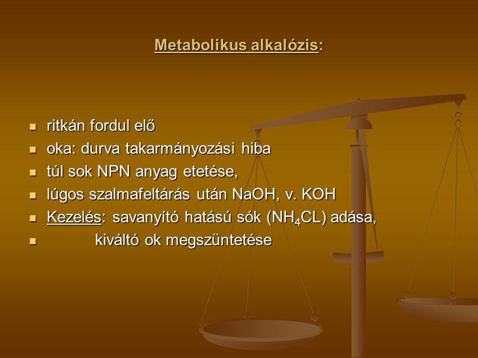 Metabolikus alkalózis: ritkán fordul elő ritkán fordul elő oka: durva takarmányozási hiba oka: durva takarmányozási hiba túl sok NPN anyag etetése, tú