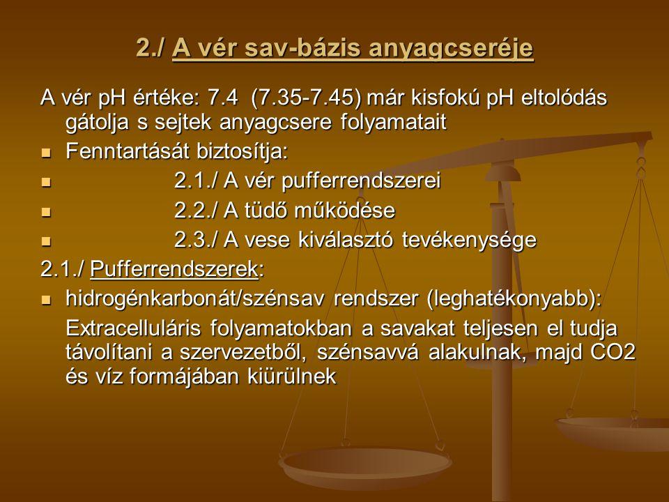 2./ A vér sav-bázis anyagcseréje A vér pH értéke: 7.4 (7.35-7.45) már kisfokú pH eltolódás gátolja s sejtek anyagcsere folyamatait Fenntartását biztos