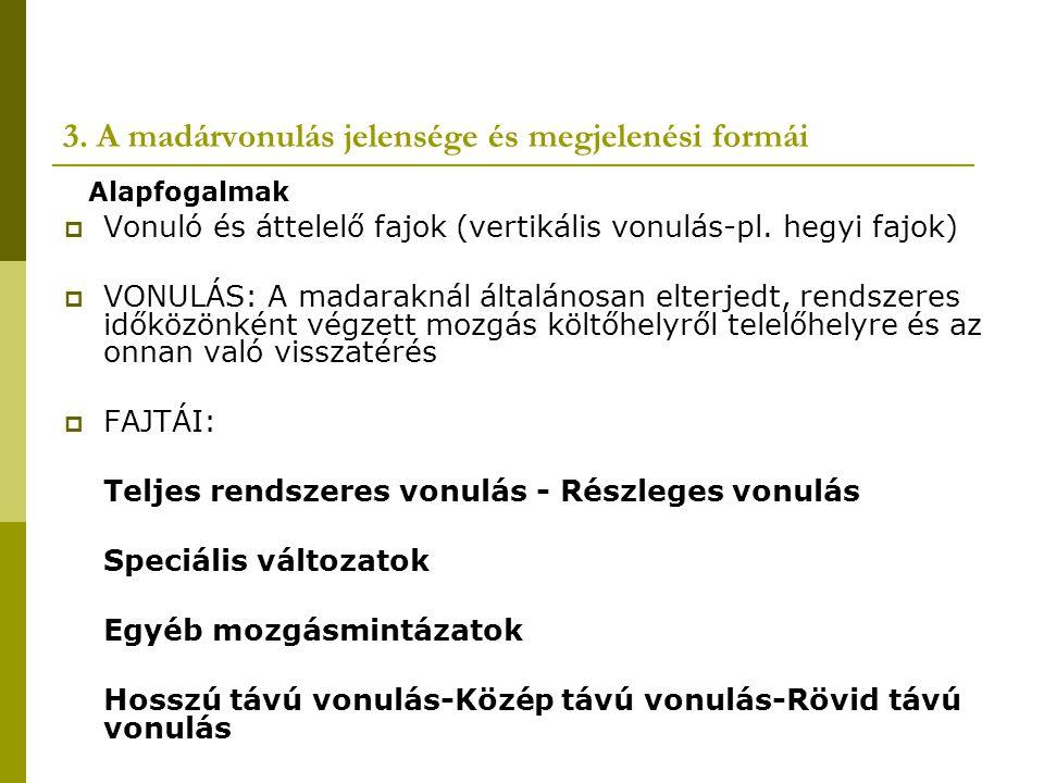 Egyéb mozgásmintázatok és populációs jelentőségük  Menekülő mozgások Ritkán előforduló veszélyforrások elől való nagy tömegű migráció nem sűrűségfüggő egyetlen konkrét faktor okozza Pl.: 1966 Balti-tenger befagyása Sarlósfecske zivatarfront kerülése  Elterjedési terület változás Időleges v.