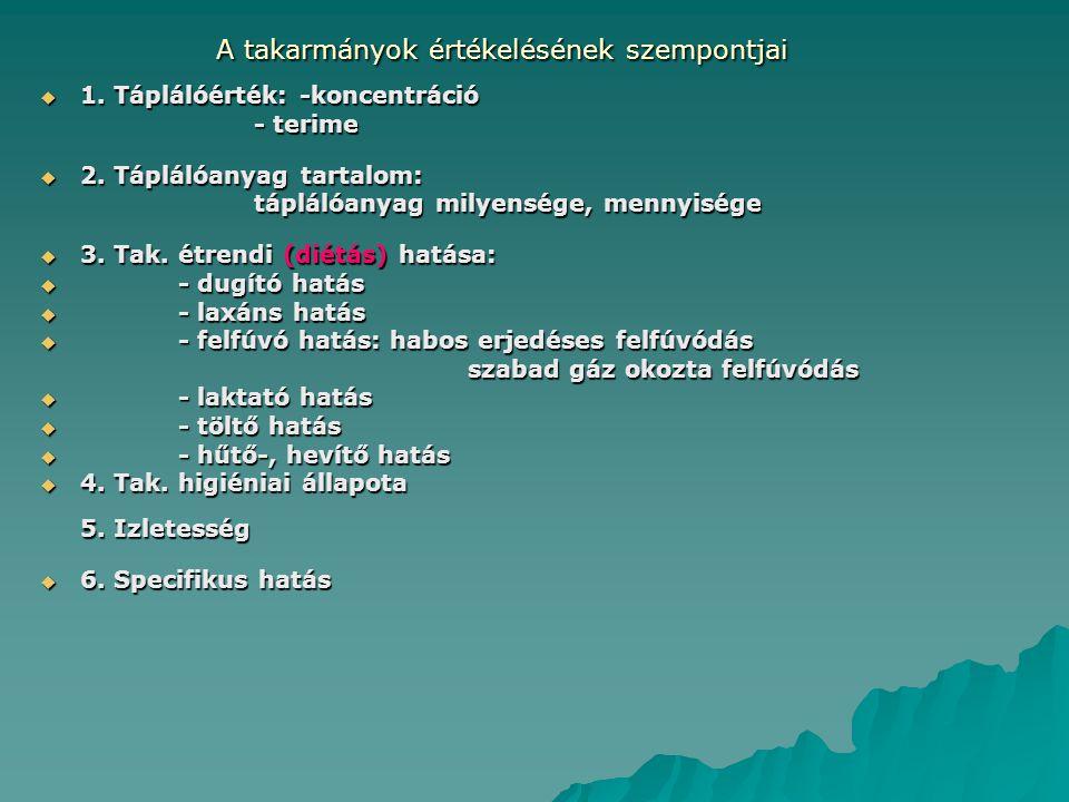 A takarmányok értékelésének szempontjai  1.Táplálóérték: -koncentráció - terime  2.