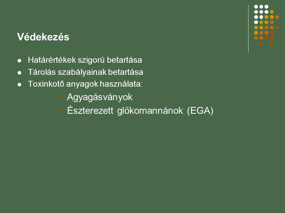 Védekezés Határértékek szigorú betartása Tárolás szabályainak betartása Toxinkotő anyagok használata:  Agyagásványok  Észterezett glökomannánok (EGA