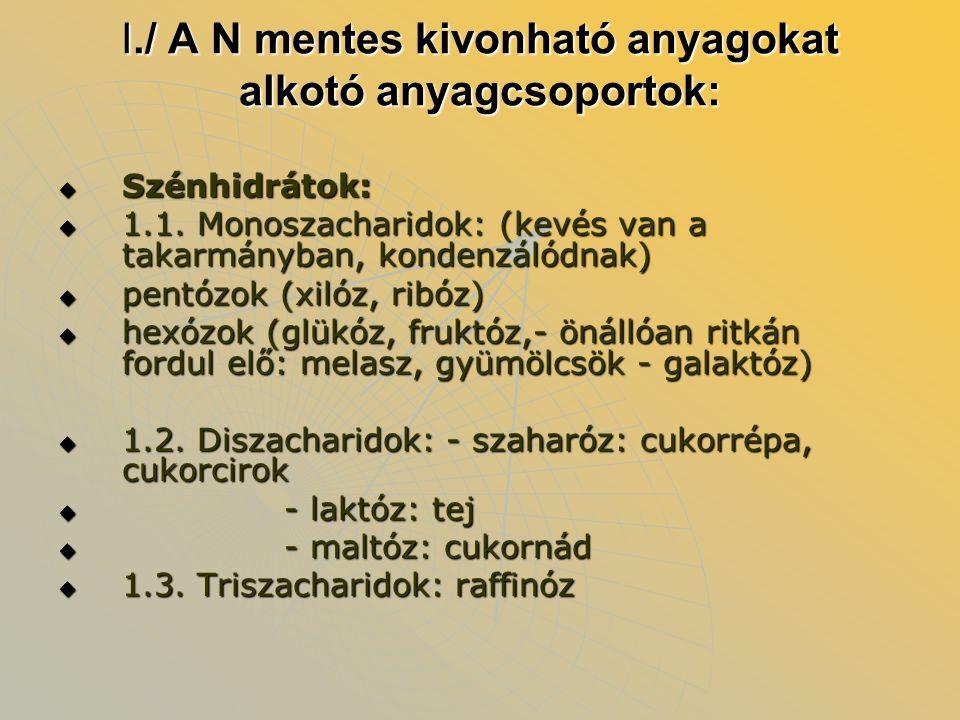 I./ A N mentes kivonható anyagokat alkotó anyagcsoportok:  Szénhidrátok:  1.1. Monoszacharidok: (kevés van a takarmányban, kondenzálódnak)  pentózo