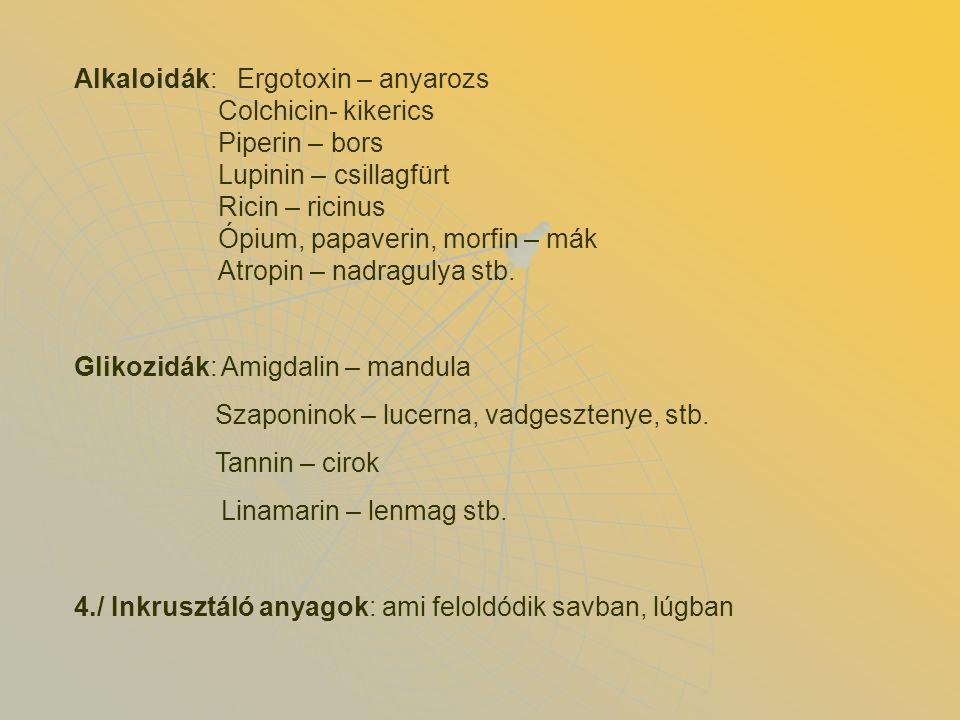 Alkaloidák: Ergotoxin – anyarozs Colchicin- kikerics Piperin – bors Lupinin – csillagfürt Ricin – ricinus Ópium, papaverin, morfin – mák Atropin – nad
