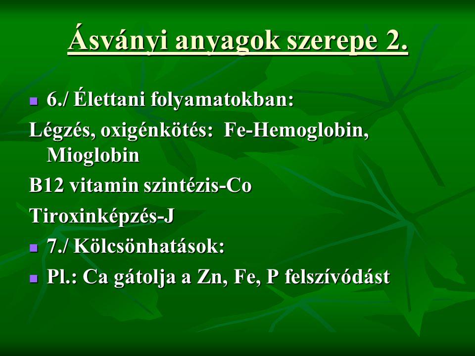 Ásványi anyagok szerepe 2. 6./ Élettani folyamatokban: 6./ Élettani folyamatokban: Légzés, oxigénkötés: Fe-Hemoglobin, Mioglobin B12 vitamin szintézis