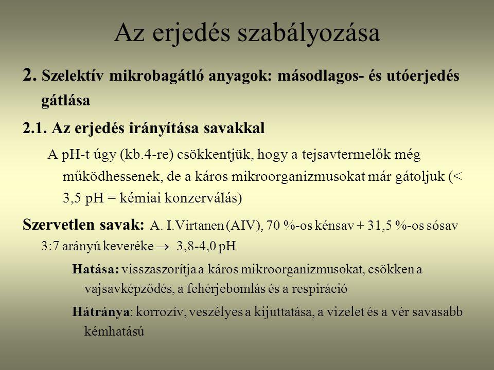 Az erjedés szabályozása 2.Szelektív mikrobagátló anyagok: másodlagos- és utóerjedés gátlása 2.1.