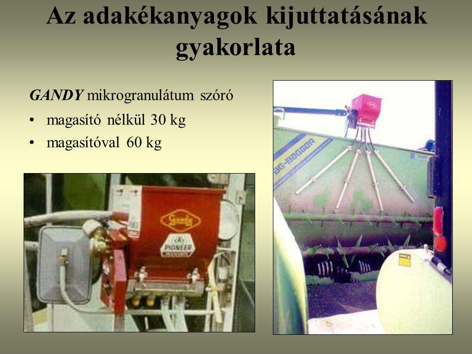 Az adakékanyagok kijuttatásának gyakorlata GANDY mikrogranulátum szóró magasító nélkül 30 kg magasítóval 60 kg