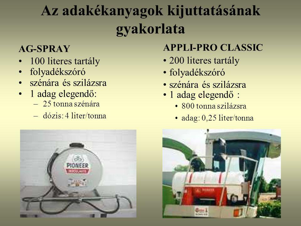 Az adakékanyagok kijuttatásának gyakorlata AG-SPRAY 100 literes tartály folyadékszóró szénára és szilázsra 1 adag elegendő: –25 tonna szénára –dózis: 4 liter/tonna APPLI-PRO CLASSIC 200 literes tartály folyadékszóró szénára és szilázsra 1 adag elegendő : 800 tonna szilázsra adag: 0,25 liter/tonna