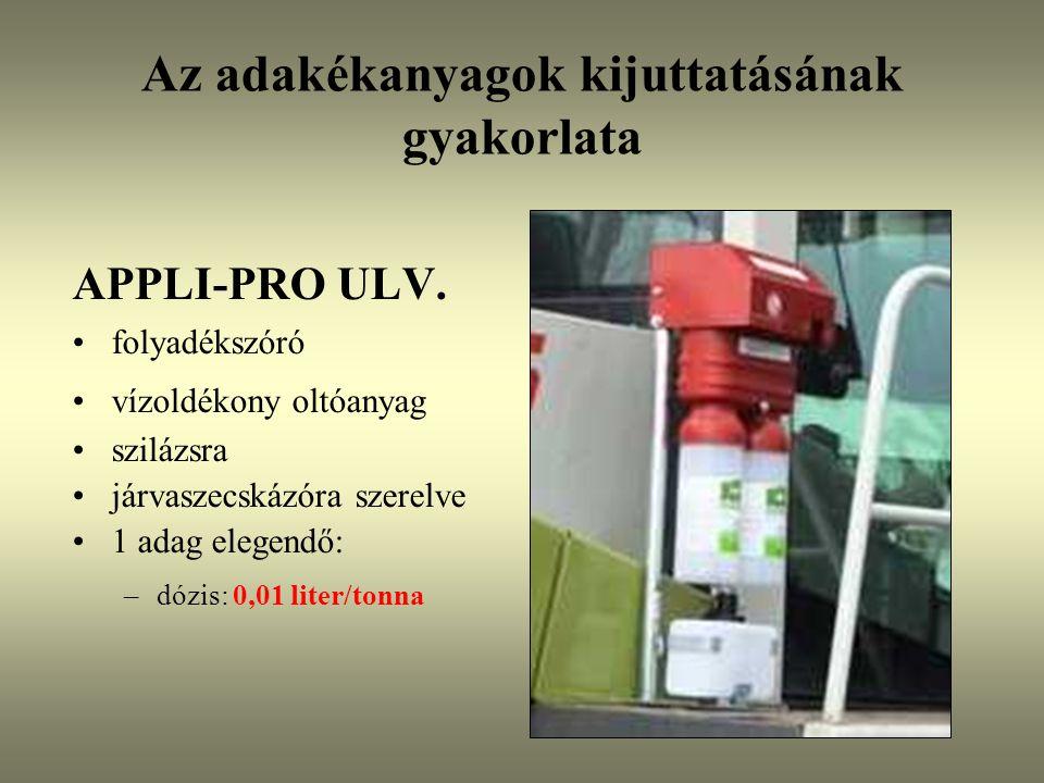 Az adakékanyagok kijuttatásának gyakorlata APPLI-PRO ULV.