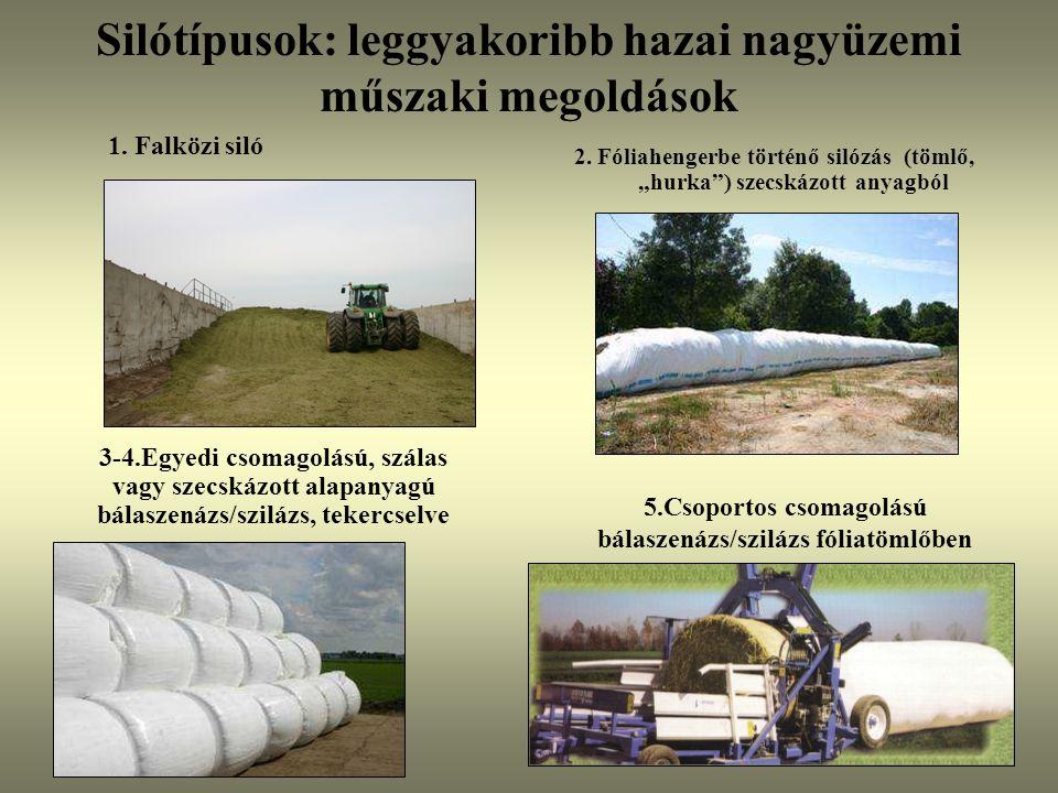 """Silótípusok: leggyakoribb hazai nagyüzemi műszaki megoldások 2. Fóliahengerbe történő silózás (tömlő, """"hurka"""") szecskázott anyagból 1. Falközi siló 5."""