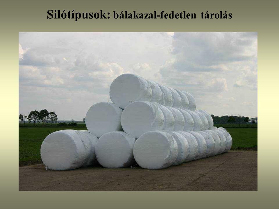 Silótípusok: bálakazal-fedetlen tárolás