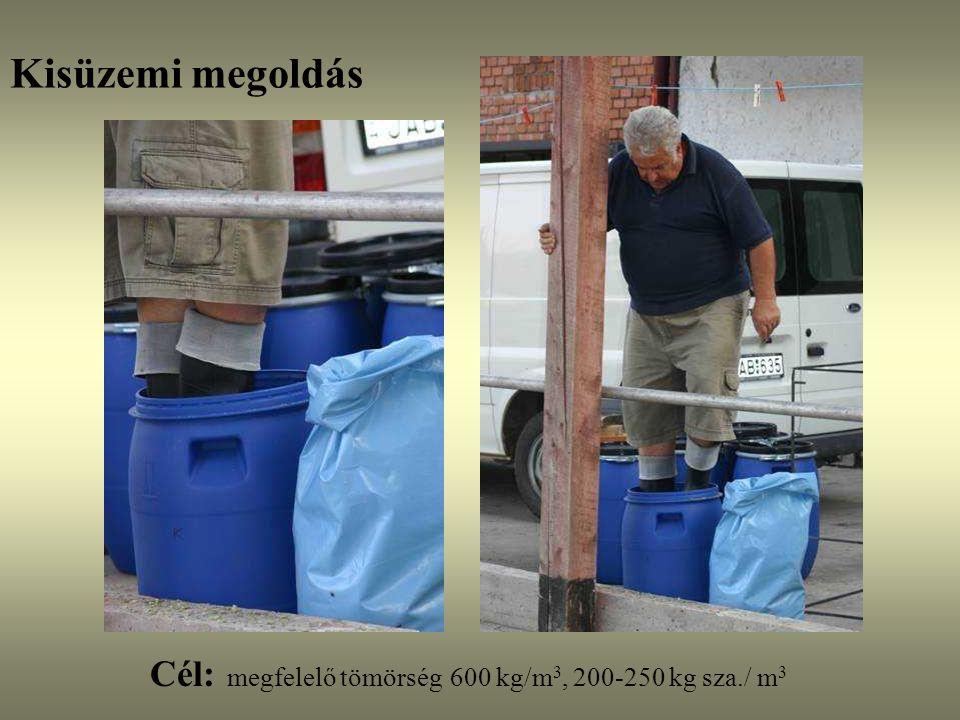 Silótípusok: falközi siló - Osztott silótér x m széles* 0,2m vastag*3m magas*600 kg/m3 = 400 db tehén * 15 kg/nap/tehén x m* 0,2m*3m*600 kg/m3 = 6000 kg /nap szilázs x = 6000 kg / (0,2m*3m*600 kg/m3 ) x = 16,7 m széles silótér (napi 20 cm kitermelés)