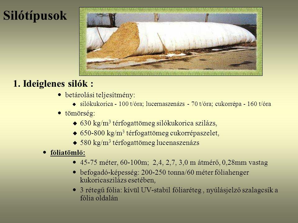 Silótípusok 1. Ideiglenes silók :  betárolási teljesítmény:  silókukorica - 100 t/óra; lucernaszenázs - 70 t/óra; cukorrépa - 160 t/óra  tömörség: