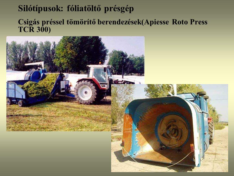 Silótípusok: fóliatöltő présgép Csigás préssel tömörítő berendezések(Apiesse Roto Press TCR 300)