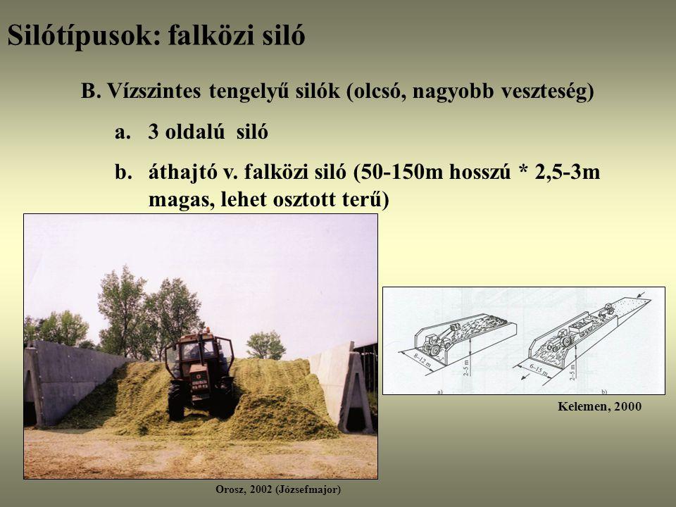 Silótípusok: falközi siló B. Vízszintes tengelyű silók (olcsó, nagyobb veszteség) a.3 oldalú siló b.áthajtó v. falközi siló (50-150m hosszú * 2,5-3m m