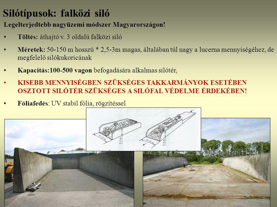 Silótípusok: falközi siló Legelterjedtebb nagyüzemi módszer Magyarországon! Töltés: áthajtó v. 3 oldalú falközi siló Méretek: 50-150 m hosszú * 2,5-3m