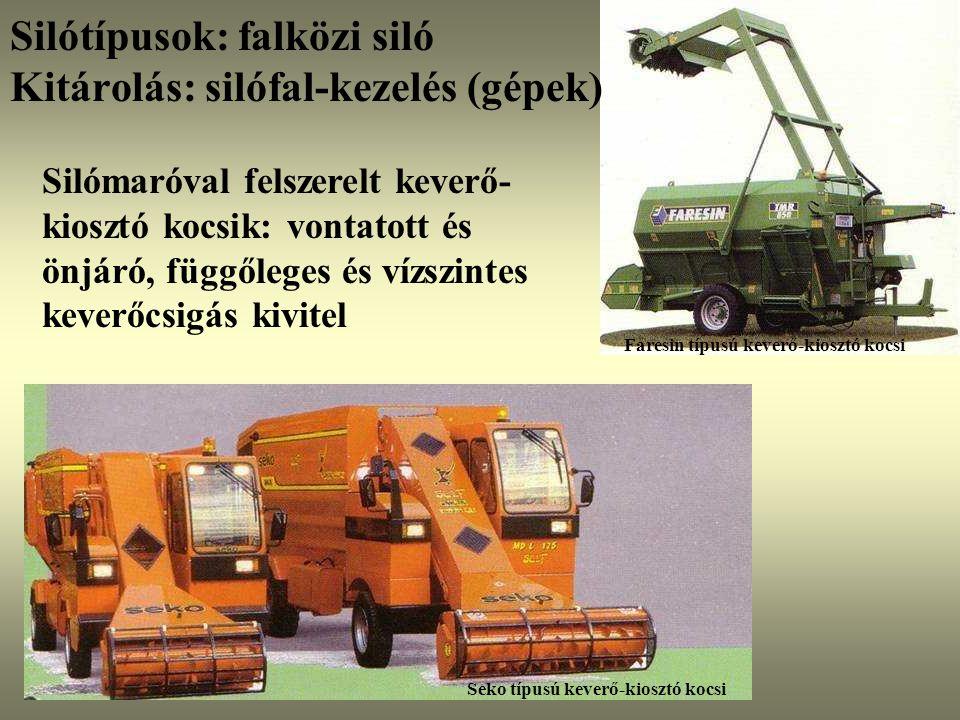 Silómaróval felszerelt keverő- kiosztó kocsik: vontatott és önjáró, függőleges és vízszintes keverőcsigás kivitel Seko típusú keverő-kiosztó kocsi Far
