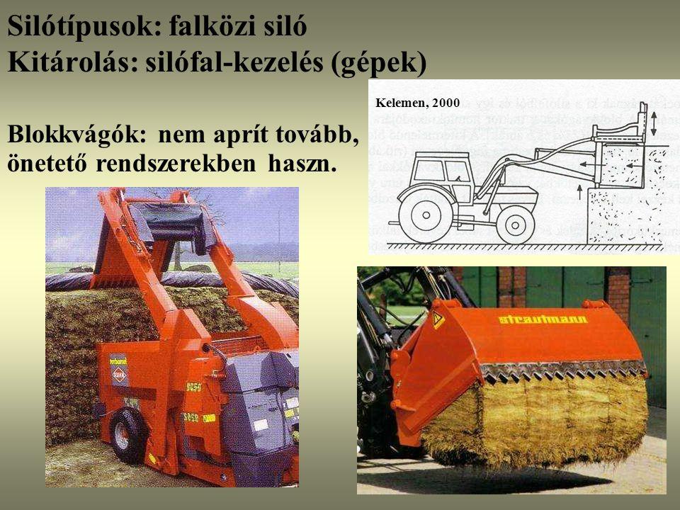 Blokkvágók: nem aprít tovább, önetető rendszerekben haszn. Kelemen, 2000 Silótípusok: falközi siló Kitárolás: silófal-kezelés (gépek)