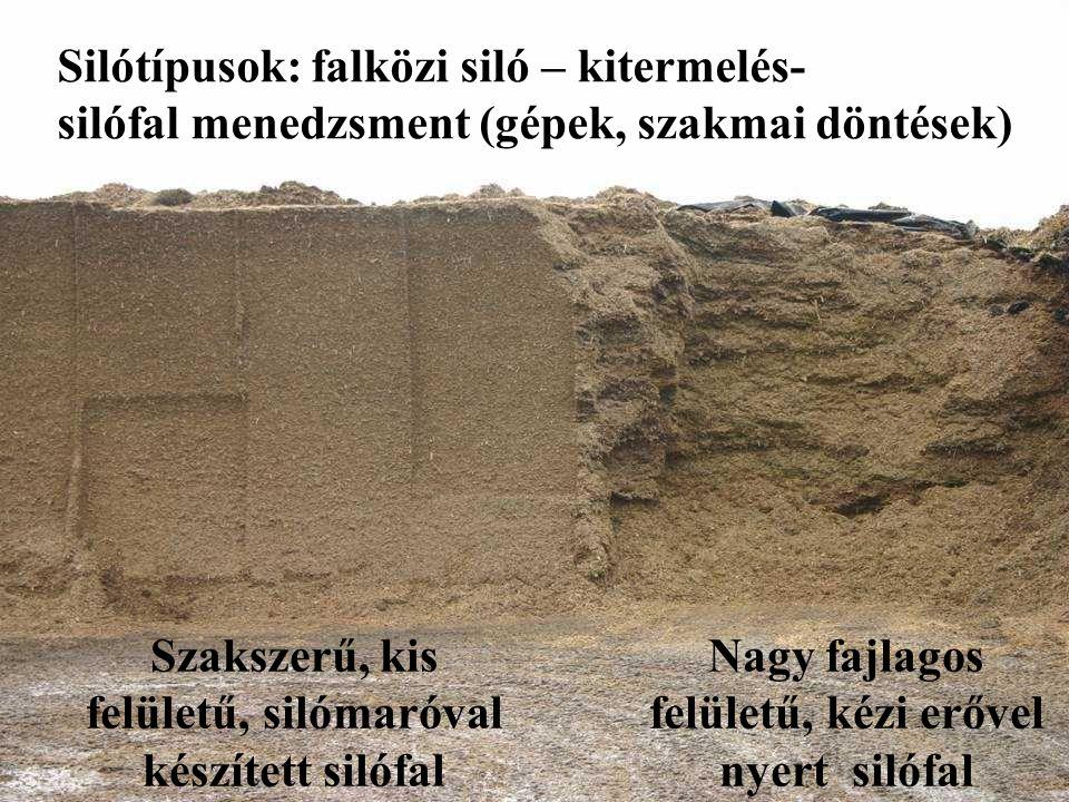 Szakszerű, kis felületű, silómaróval készített silófal Nagy fajlagos felületű, kézi erővel nyert silófal Silótípusok: falközi siló – kitermelés- silóf