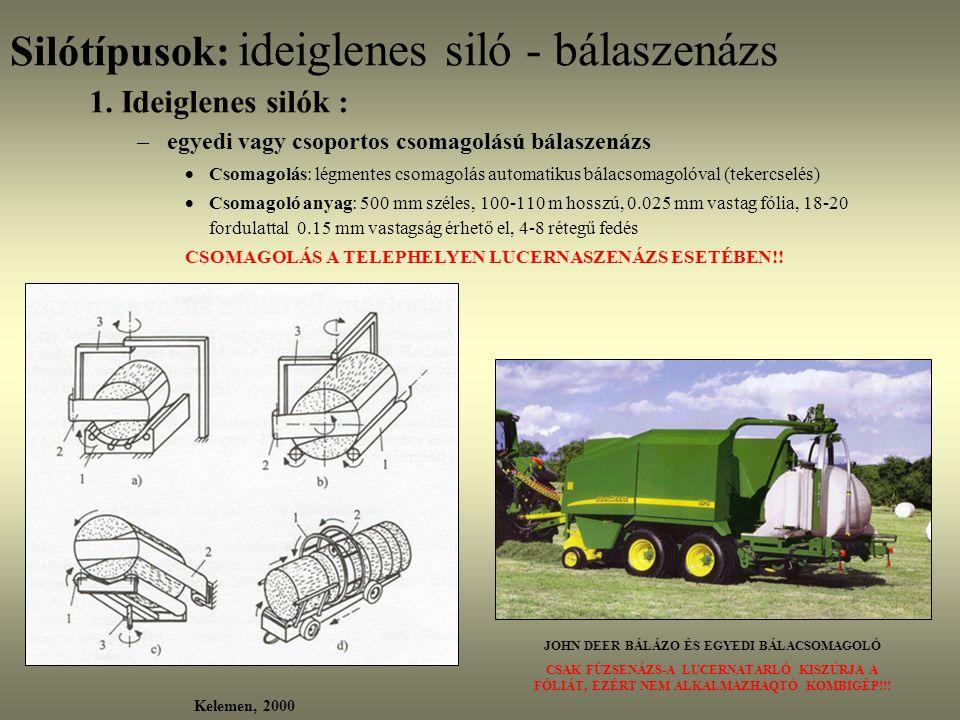 Silótípusok: ideiglenes siló - bálaszenázs 1. Ideiglenes silók : –egyedi vagy csoportos csomagolású bálaszenázs  Csomagolás: légmentes csomagolás aut