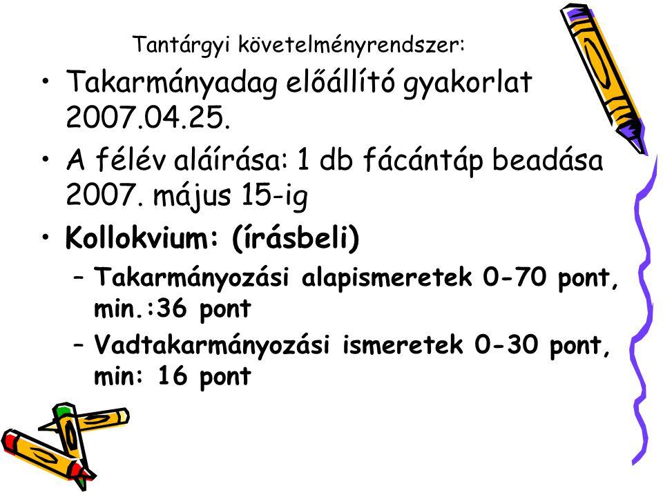 Tantárgyi követelményrendszer: Takarmányadag előállító gyakorlat 2007.04.25. A félév aláírása: 1 db fácántáp beadása 2007. május 15-ig Kollokvium: (ír